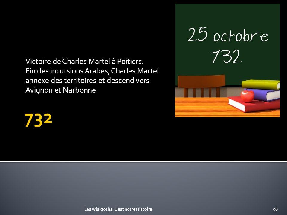 Victoire de Charles Martel à Poitiers. Fin des incursions Arabes, Charles Martel annexe des territoires et descend vers Avignon et Narbonne. 58Les Wis