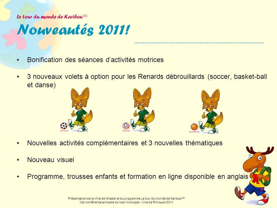 Le tour du monde de Karibou MD Nouveautés 2011! Bonification des séances dactivités motrices 3 nouveaux volets à option pour les Renards débrouillards