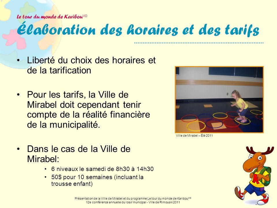 Le tour du monde de Karibou MD Élaboration des horaires et des tarifs Liberté du choix des horaires et de la tarification Pour les tarifs, la Ville de