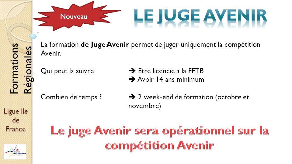 Ligue Ile de France Nouveau La formation de Juge Avenir permet de juger uniquement la compétition Avenir. Qui peut la suivre Etre licencié à la FFTB A