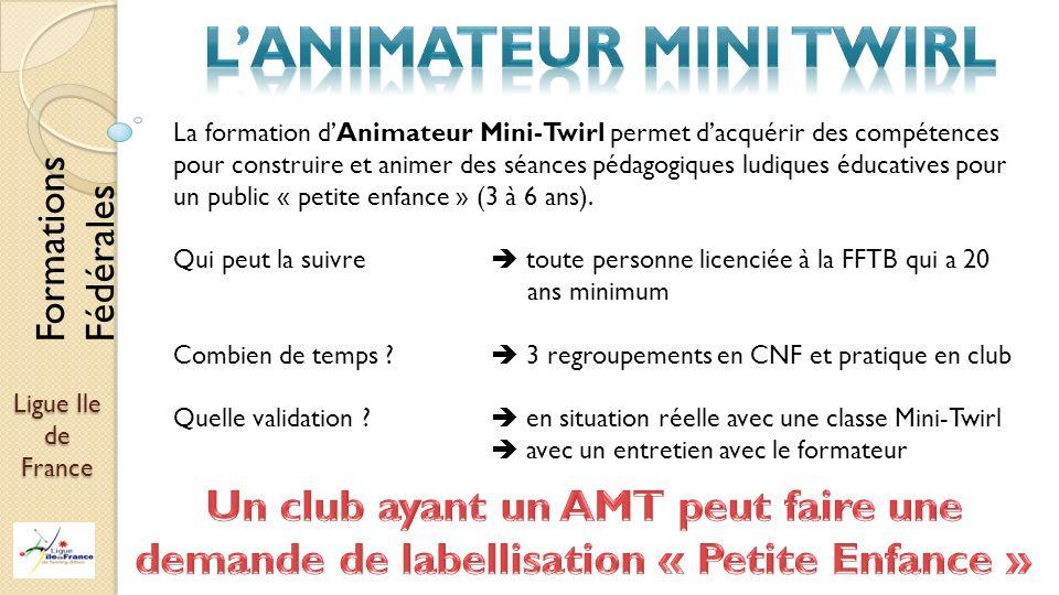 Ligue Ile de France La formation dAnimateur Mini-Twirl permet dacquérir des compétences pour construire et animer des séances pédagogiques ludiques éd
