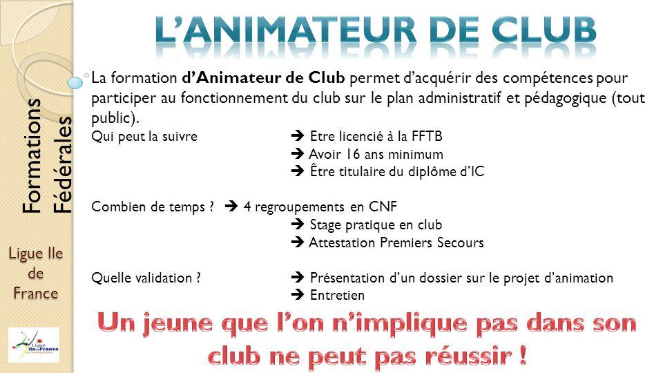 Ligue Ile de France La formation dAnimateur de Club permet dacquérir des compétences pour participer au fonctionnement du club sur le plan administrat