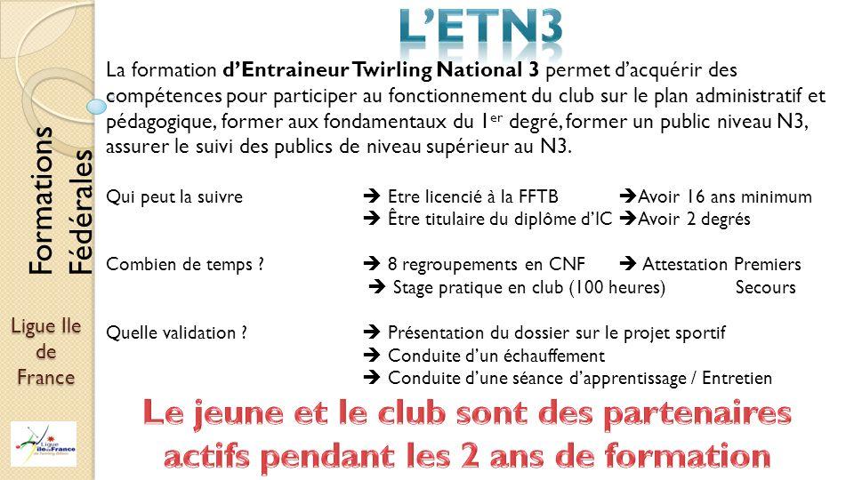 Ligue Ile de France La formation dEntraineur Twirling National 3 permet dacquérir des compétences pour participer au fonctionnement du club sur le pla