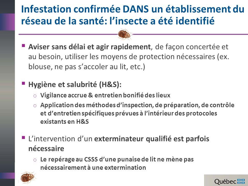 Infestation confirmée DANS un établissement du réseau de la santé: linsecte a été identifié Aviser sans délai et agir rapidement, de façon concertée et au besoin, utiliser les moyens de protection nécessaires (ex.