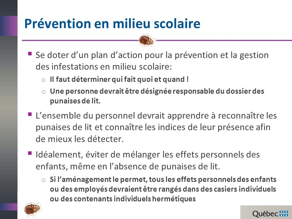 Prévention en milieu scolaire Se doter dun plan daction pour la prévention et la gestion des infestations en milieu scolaire: o Il faut déterminer qui fait quoi et quand .