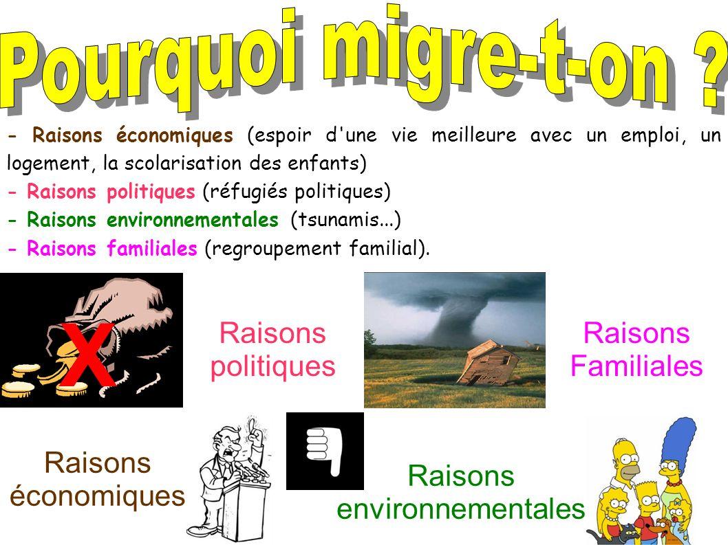 X X Raisons économiques Raisons politiques Raisons environnementales Raisons Familiales - Raisons économiques (espoir d'une vie meilleure avec un empl