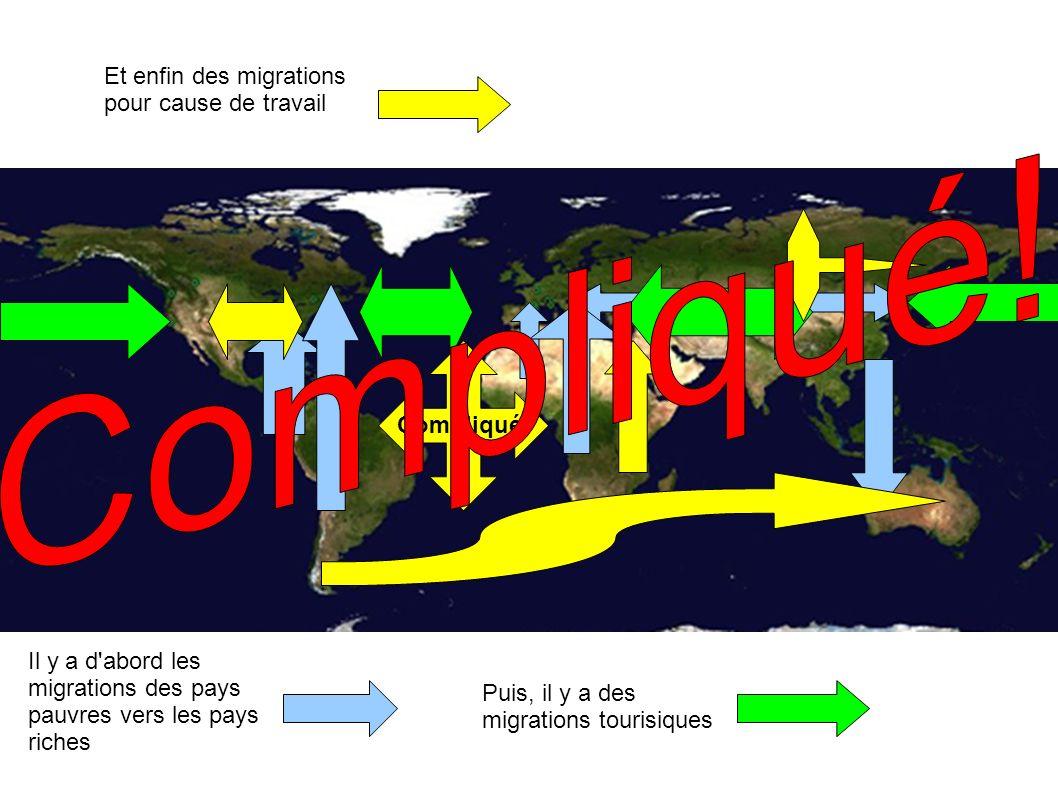Il y a d'abord les migrations des pays pauvres vers les pays riches Puis, il y a des migrations tourisiques Et enfin des migrations pour cause de trav