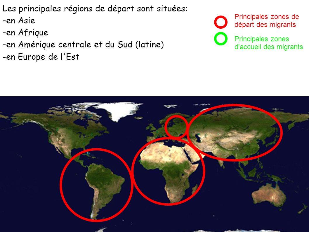 Les principales régions de départ sont situées: -en Asie -en Afrique -en Amérique centrale et du Sud (latine) -en Europe de l'Est Principales zones de