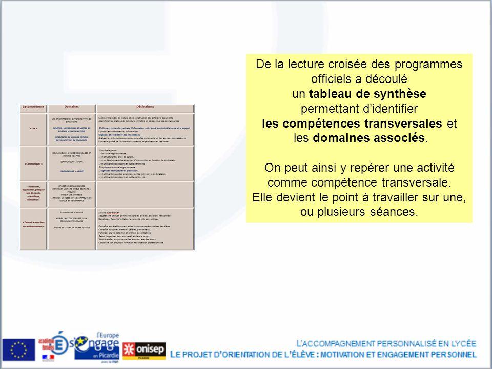De la lecture croisée des programmes officiels a découlé un tableau de synthèse permettant didentifier les compétences transversales et les domaines associés.