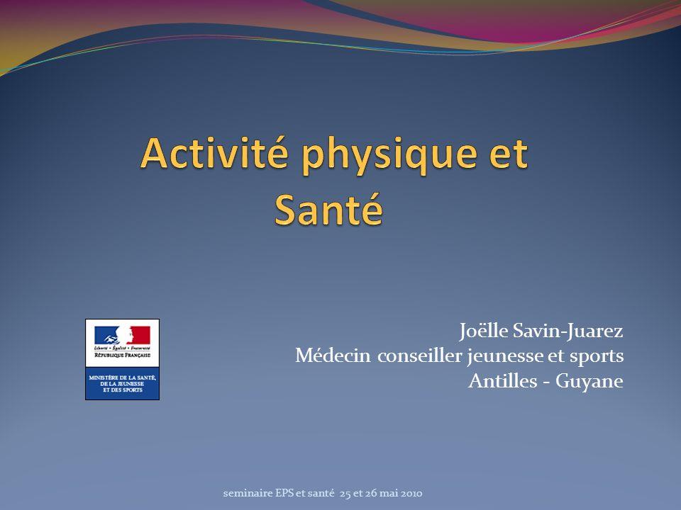 Joëlle Savin-Juarez Médecin conseiller jeunesse et sports Antilles - Guyane seminaire EPS et santé 25 et 26 mai 2010