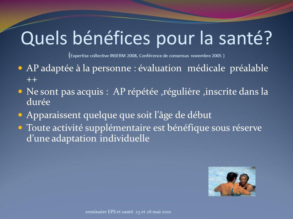 Quels bénéfices pour la santé? ( Expertise collective INSERM 2008, Conférence de consensus novembre 2005 ) AP adaptée à la personne : évaluation médic