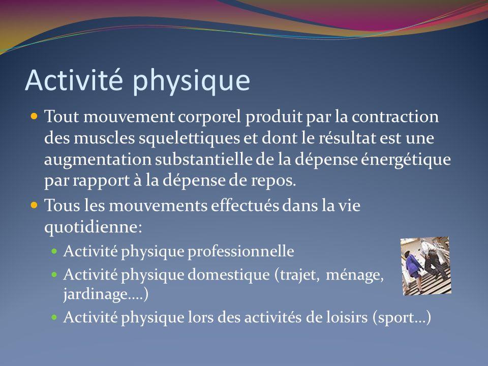 Activité physique Tout mouvement corporel produit par la contraction des muscles squelettiques et dont le résultat est une augmentation substantielle