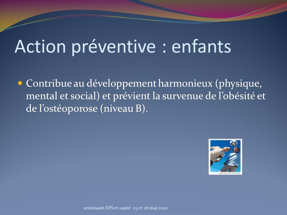 Action préventive : enfants Contribue au développement harmonieux (physique, mental et social) et prévient la survenue de lobésité et de lostéoporose
