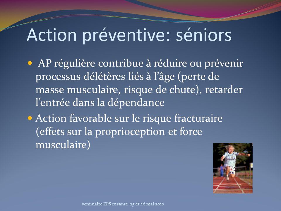Action préventive: séniors AP régulière contribue à réduire ou prévenir processus délétères liés à lâge (perte de masse musculaire, risque de chute),