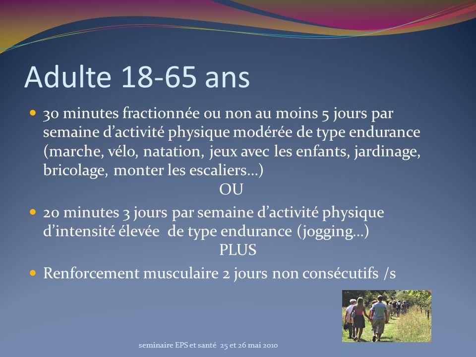 Adulte 18-65 ans 30 minutes fractionnée ou non au moins 5 jours par semaine dactivité physique modérée de type endurance (marche, vélo, natation, jeux