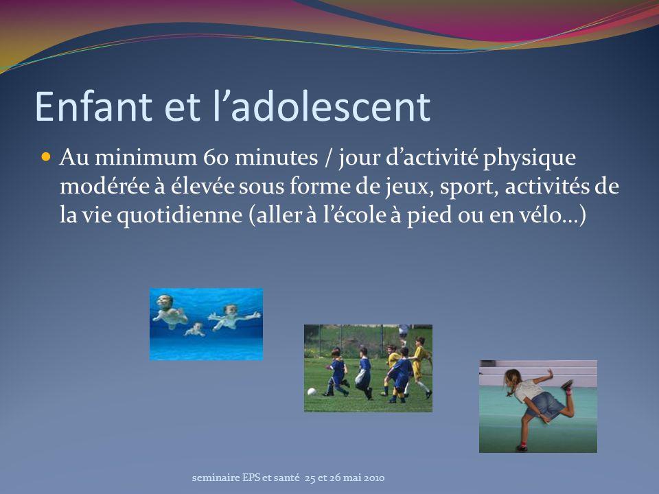 Enfant et ladolescent Au minimum 60 minutes / jour dactivité physique modérée à élevée sous forme de jeux, sport, activités de la vie quotidienne (all