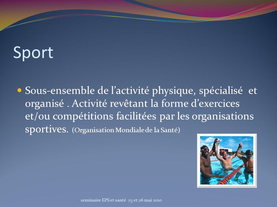 Sport Sous-ensemble de lactivité physique, spécialisé et organisé. Activité revêtant la forme dexercices et/ou compétitions facilitées par les organis