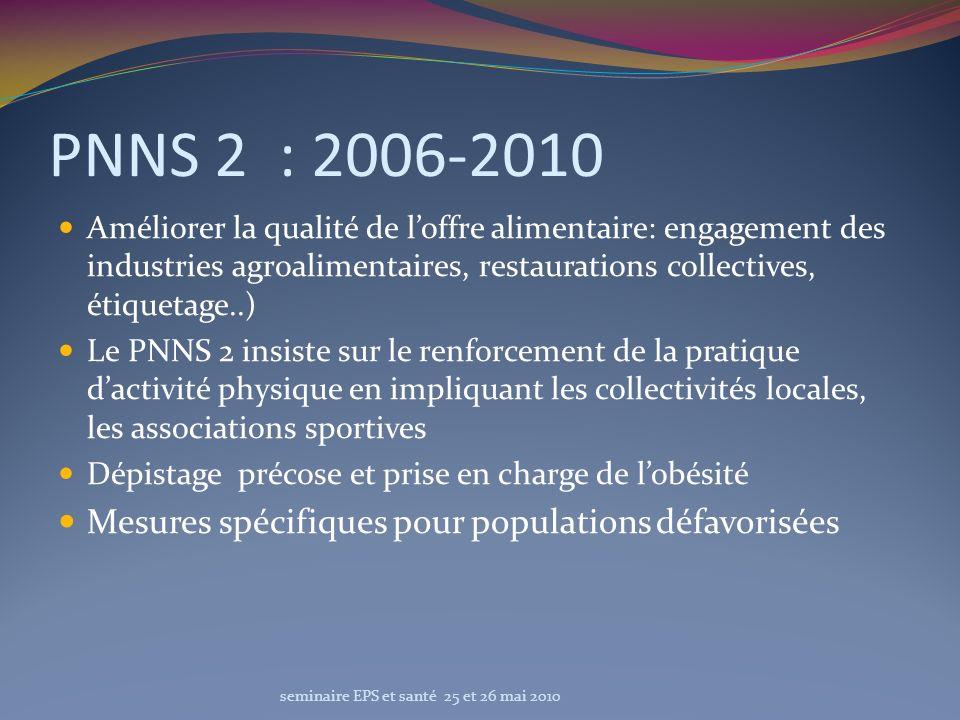 PNNS 2 : 2006-2010 Améliorer la qualité de loffre alimentaire: engagement des industries agroalimentaires, restaurations collectives, étiquetage..) Le