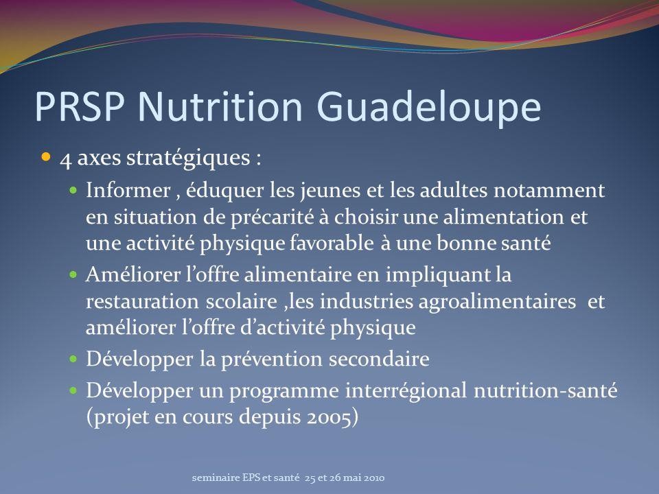 PRSP Nutrition Guadeloupe 4 axes stratégiques : Informer, éduquer les jeunes et les adultes notamment en situation de précarité à choisir une alimenta