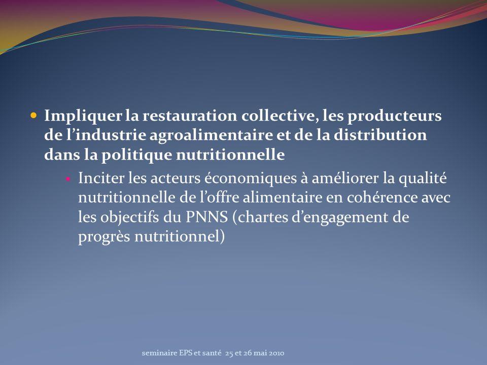 Impliquer la restauration collective, les producteurs de lindustrie agroalimentaire et de la distribution dans la politique nutritionnelle Inciter les