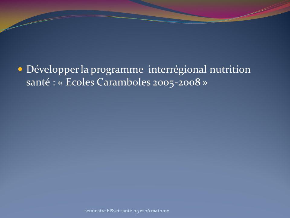Développer la programme interrégional nutrition santé : « Ecoles Caramboles 2005-2008 » seminaire EPS et santé 25 et 26 mai 2010