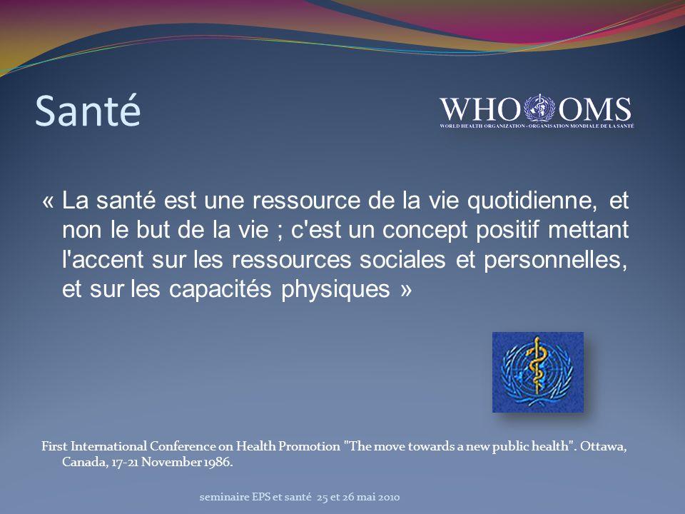 Santé « La santé est une ressource de la vie quotidienne, et non le but de la vie ; c'est un concept positif mettant l'accent sur les ressources socia