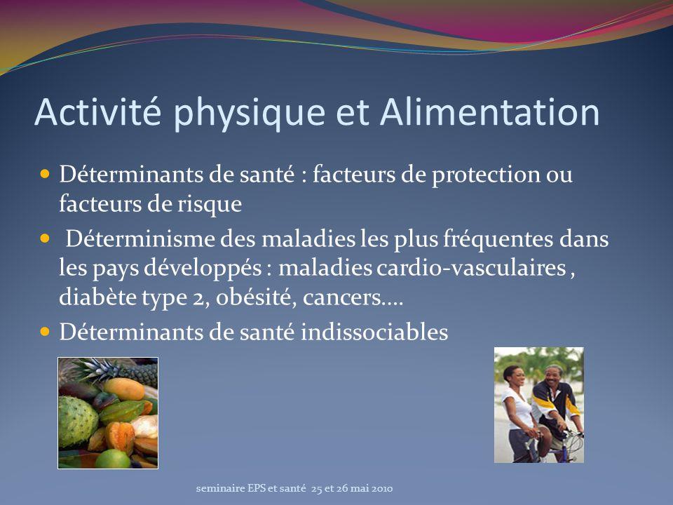 Activité physique et Alimentation Déterminants de santé : facteurs de protection ou facteurs de risque Déterminisme des maladies les plus fréquentes d