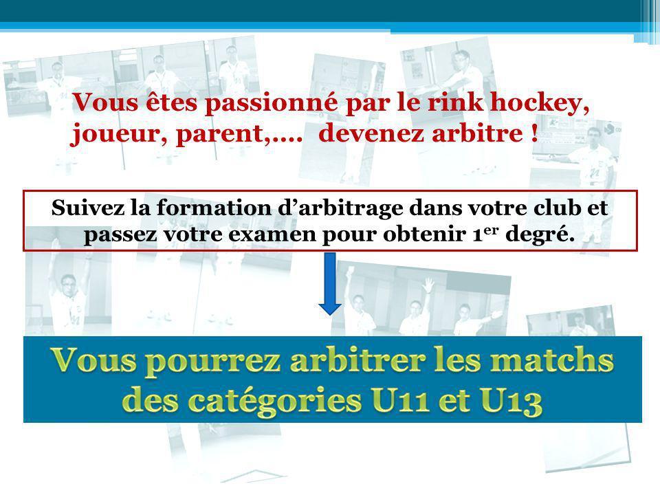 Vous êtes passionné par le rink hockey, joueur, parent,…. devenez arbitre ! Suivez la formation darbitrage dans votre club et passez votre examen pour