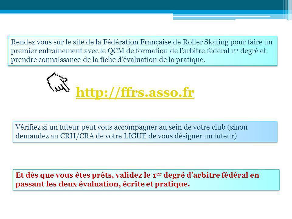 Rendez vous sur le site de la Fédération Française de Roller Skating pour faire un premier entraînement avec le QCM de formation de larbitre fédéral 1 er degré et prendre connaissance de la fiche dévaluation de la pratique.
