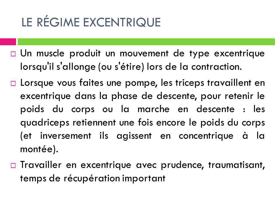 LE RÉGIME EXCENTRIQUE Un muscle produit un mouvement de type excentrique lorsqu'il s'allonge (ou s'étire) lors de la contraction. Lorsque vous faites