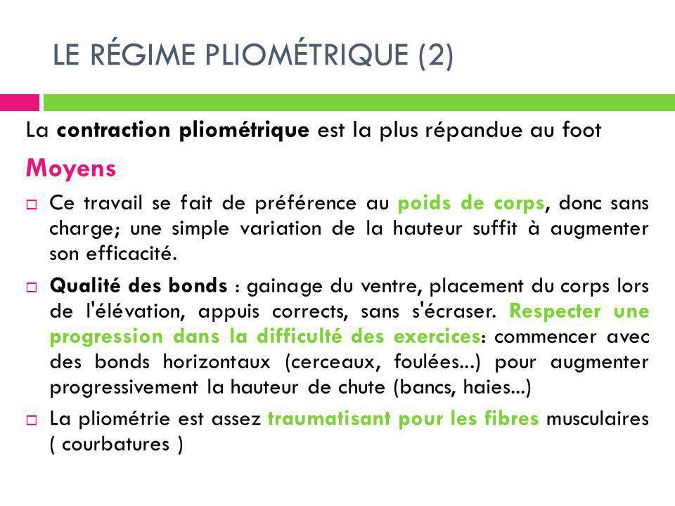LE RÉGIME PLIOMÉTRIQUE (2) La contraction pliométrique est la plus répandue au foot Moyens Ce travail se fait de préférence au poids de corps, donc sa