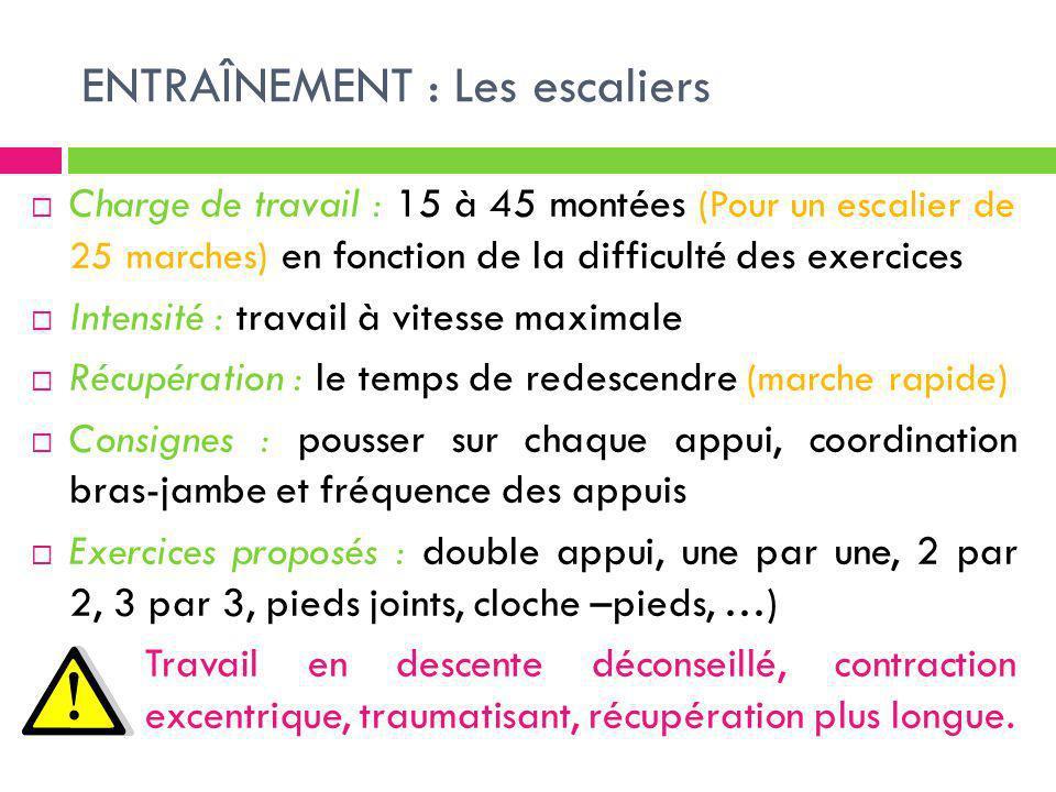 ENTRAÎNEMENT : Les escaliers Charge de travail : 15 à 45 montées (Pour un escalier de 25 marches) en fonction de la difficulté des exercices Intensité