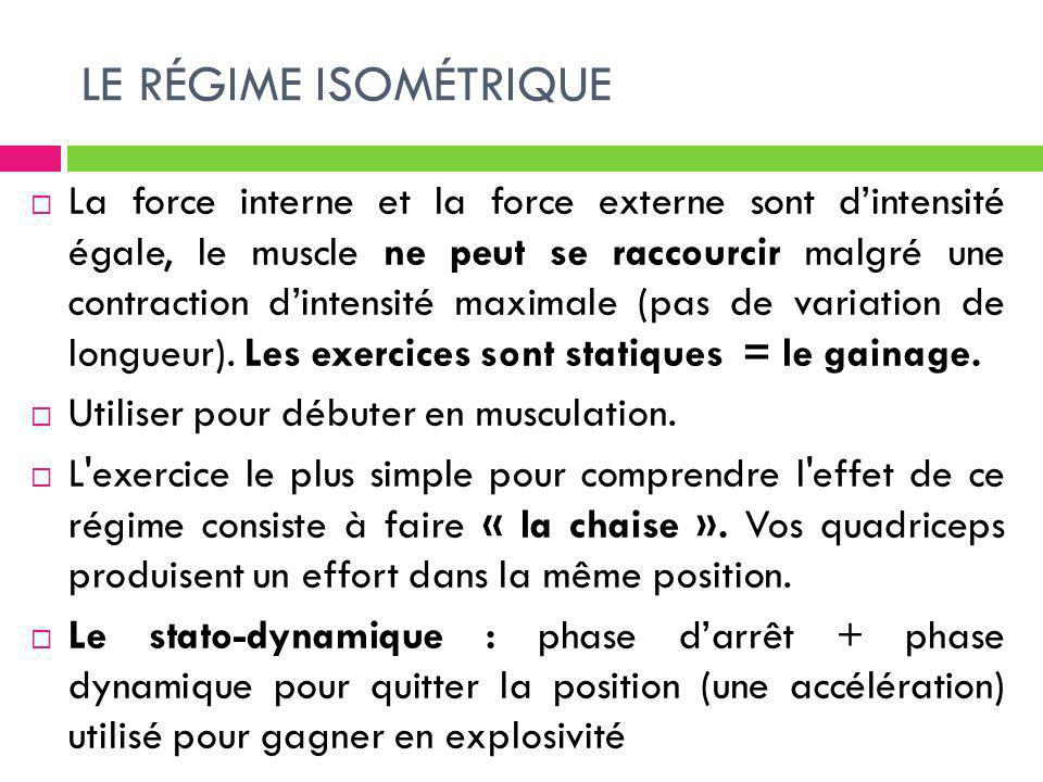 LE RÉGIME ISOMÉTRIQUE La force interne et la force externe sont dintensité égale, le muscle ne peut se raccourcir malgré une contraction dintensité ma