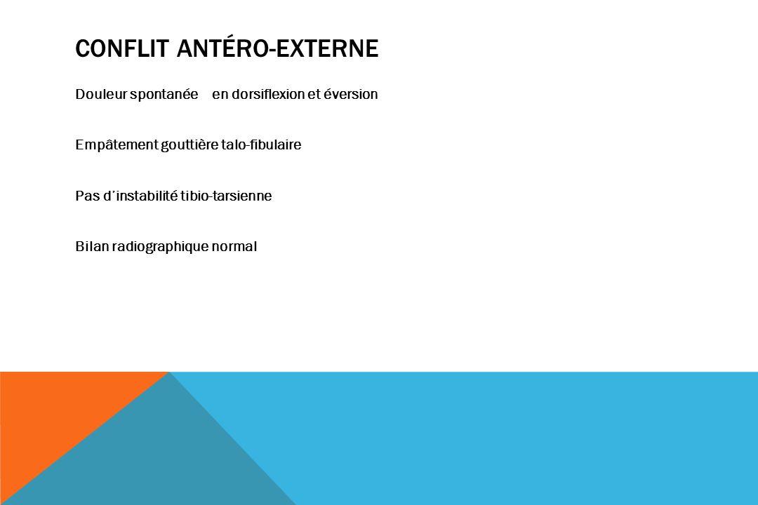 CONFLIT ANTÉRO-EXTERNE Douleur spontanée en dorsiflexion et éversion Empâtement gouttière talo-fibulaire Pas dinstabilité tibio-tarsienne Bilan radiographique normal