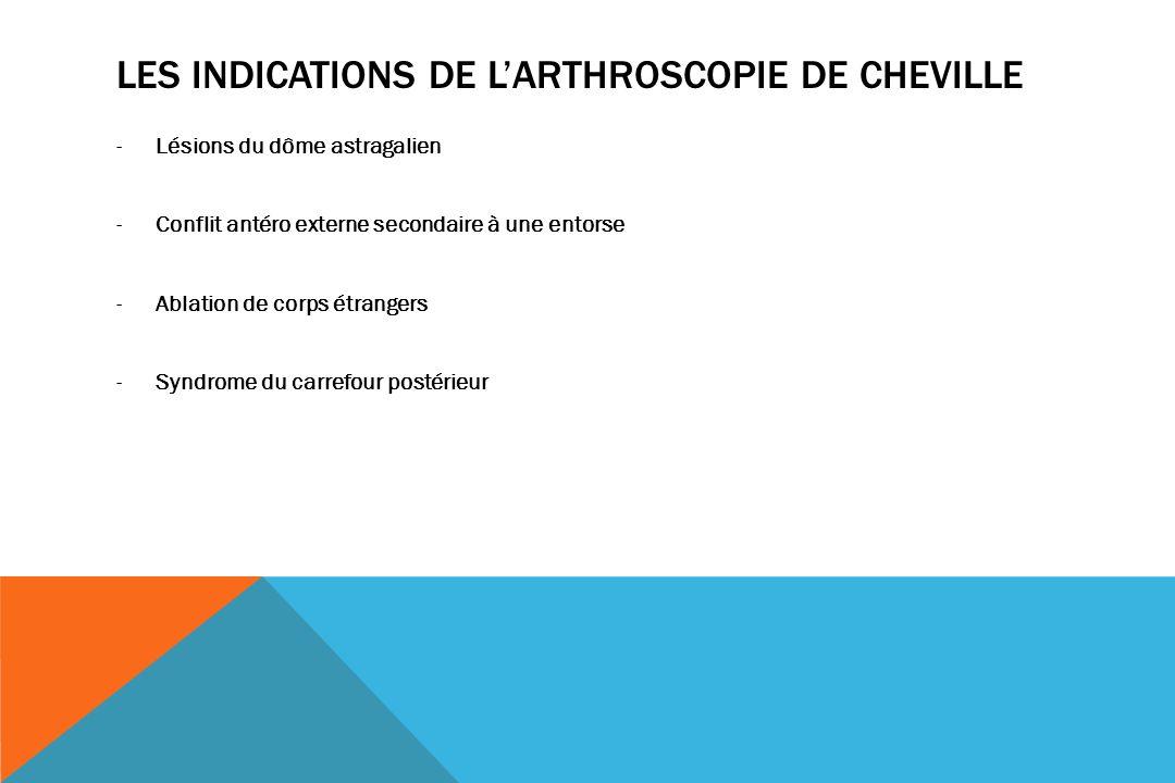 LES INDICATIONS DE LARTHROSCOPIE DE CHEVILLE -Lésions du dôme astragalien -Conflit antéro externe secondaire à une entorse -Ablation de corps étrangers -Syndrome du carrefour postérieur