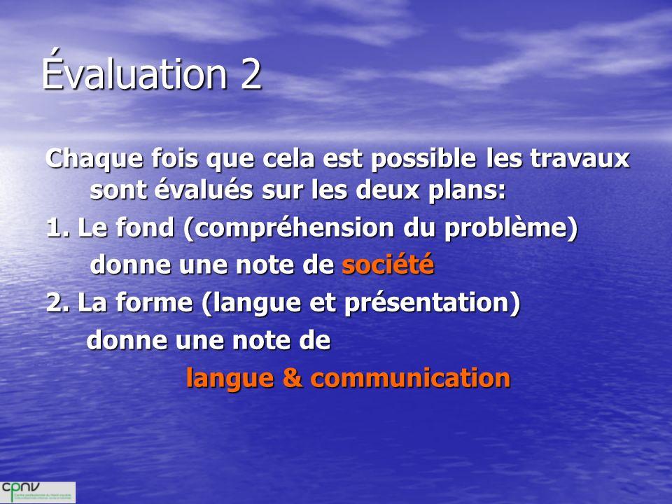 Évaluation 2 Chaque fois que cela est possible les travaux sont évalués sur les deux plans: 1. Le fond (compréhension du problème) donne une note de s