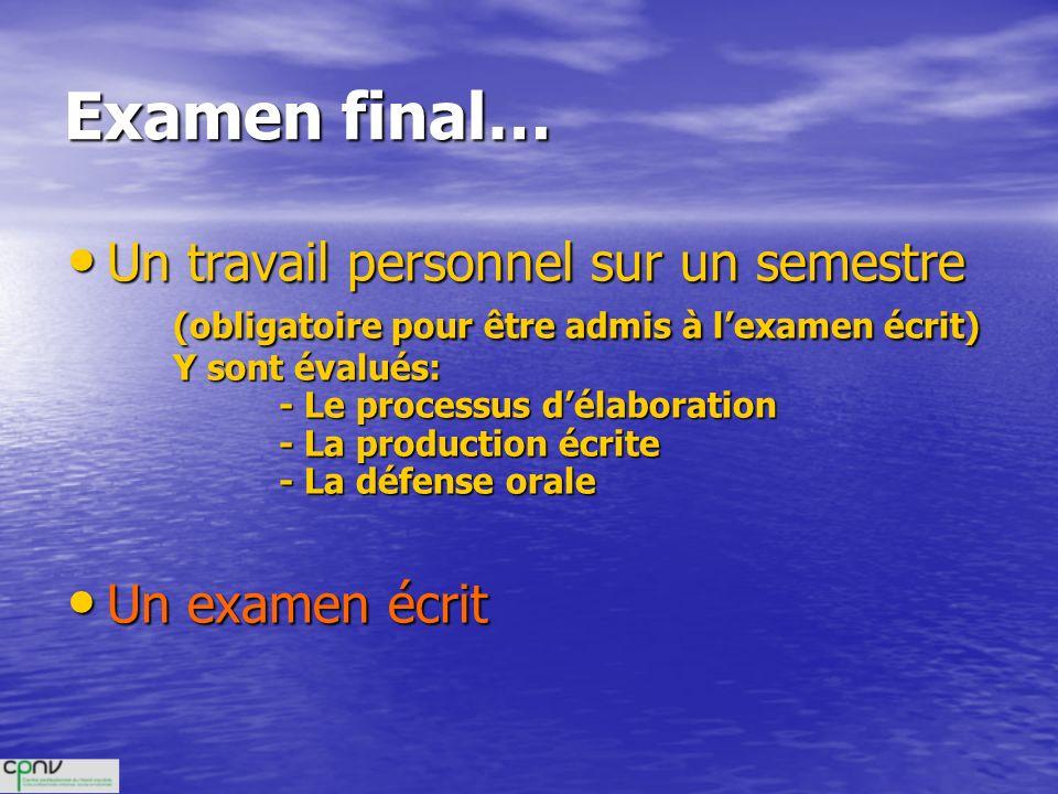 Examen final… Un travail personnel sur un semestre Un travail personnel sur un semestre (obligatoire pour être admis à lexamen écrit) Y sont évalués: