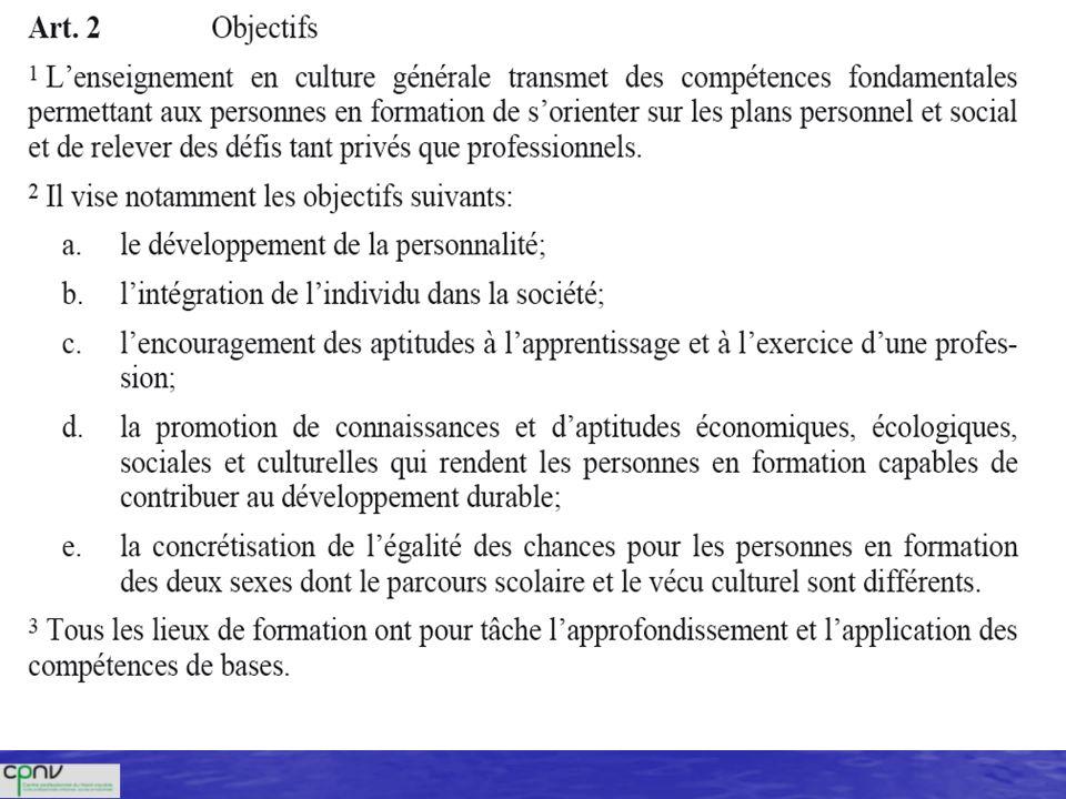 Bases légales OCMCG ( OCMCG (Ordonnance concernant les conditions minimales relatives à la culture générale dans la formation professionnelle initiale