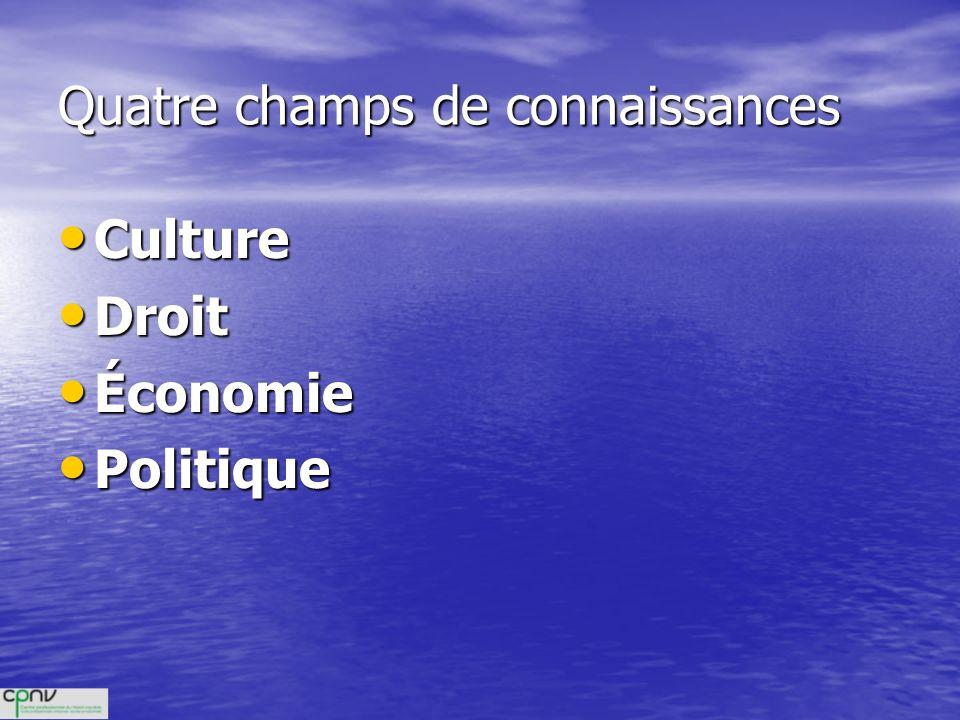 Quatre champs de connaissances Culture Culture Droit Droit Économie Économie Politique Politique