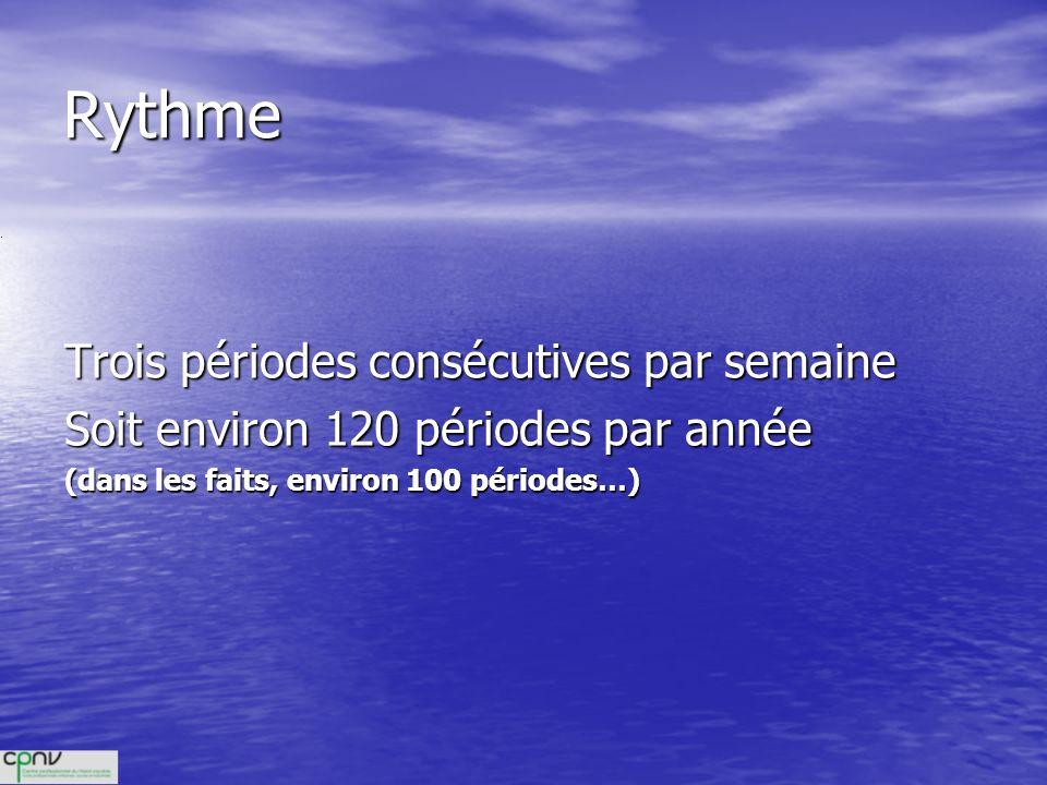 Rythme Trois périodes consécutives par semaine Soit environ 120 périodes par année (dans les faits, environ 100 périodes…)