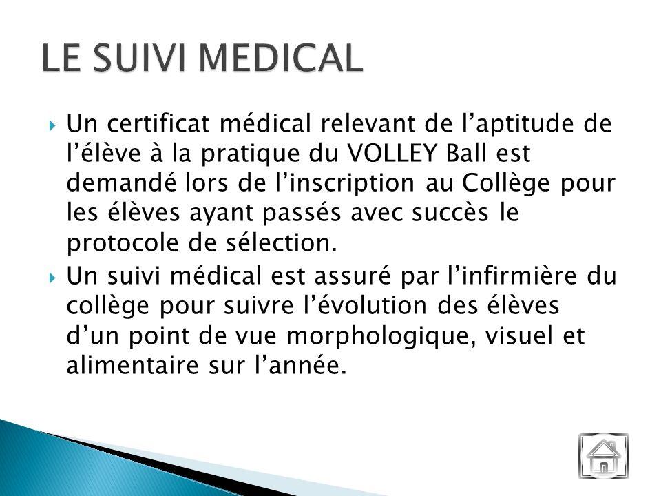 Un certificat médical relevant de laptitude de lélève à la pratique du VOLLEY Ball est demandé lors de linscription au Collège pour les élèves ayant passés avec succès le protocole de sélection.