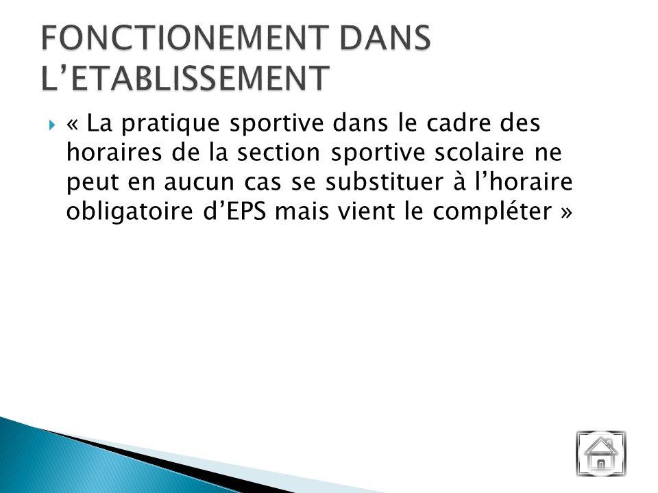 « La pratique sportive dans le cadre des horaires de la section sportive scolaire ne peut en aucun cas se substituer à lhoraire obligatoire dEPS mais vient le compléter »