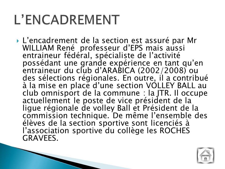 Lencadrement de la section est assuré par Mr WILLIAM René professeur dEPS mais aussi entraineur fédéral, spécialiste de lactivité possédant une grande expérience en tant quen entraineur du club dARABICA (2002/2008) ou des sélections régionales.