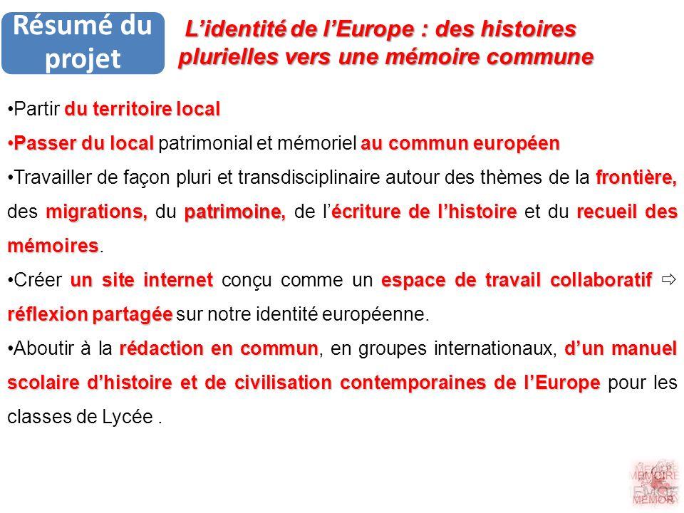 Résumé du projet duterritoire localPartir du territoire local Passer du local au commun européenPasser du local patrimonial et mémoriel au commun euro