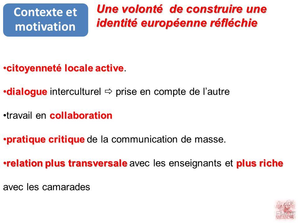 Contexte et motivation citoyenneté locale activecitoyenneté locale active. dialoguedialogue interculturel prise en compte de lautre collaborationtrava
