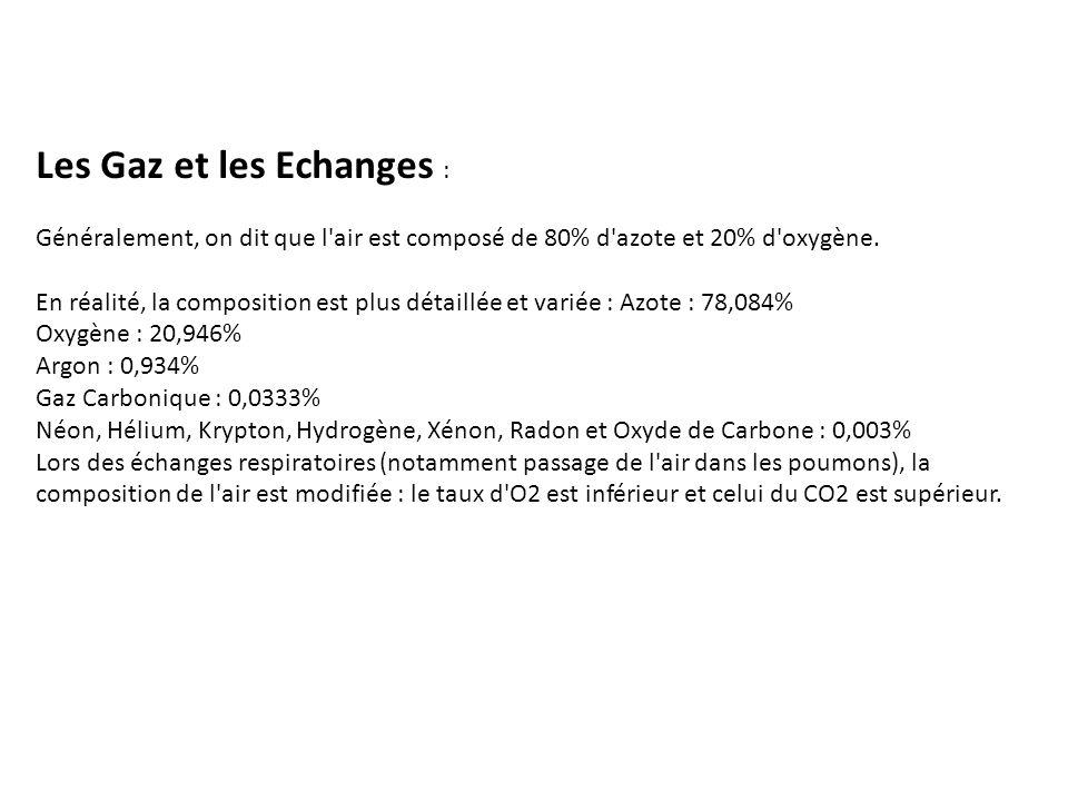 Les Gaz et les Echanges : Généralement, on dit que l air est composé de 80% d azote et 20% d oxygène.