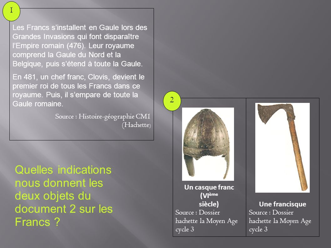 Quelles indications nous donnent les deux objets du document 2 sur les Francs ? Une francisque Source : Dossier hachette la Moyen Age cycle 3 Un casqu