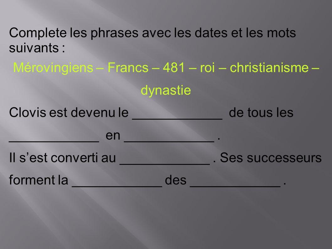 Complete les phrases avec les dates et les mots suivants : Mérovingiens – Francs – 481 – roi – christianisme – dynastie Clovis est devenu le ____________ de tous les ____________ en ____________.