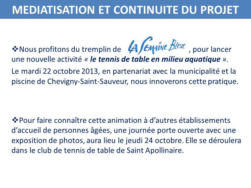 MEDIATISATION ET CONTINUITE DU PROJET Un reportage photographique et un film seront réalisés lors de ces rencontres et serviront de promotion à tous : aux clubs de tennis de table, à nos établissements, à la piscine de Chevigny-Saint-Sauveur.