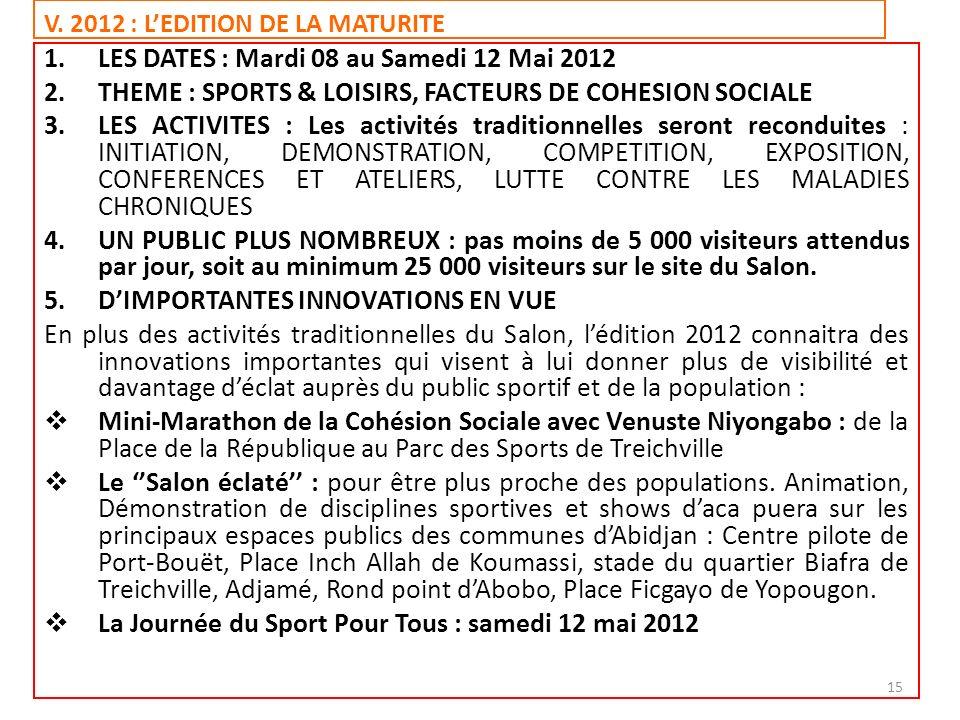 V. 2012 : LEDITION DE LA MATURITE 1.LES DATES : Mardi 08 au Samedi 12 Mai 2012 2.THEME : SPORTS & LOISIRS, FACTEURS DE COHESION SOCIALE 3.LES ACTIVITE